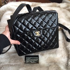 Chanel Patent leather backpack quilted black